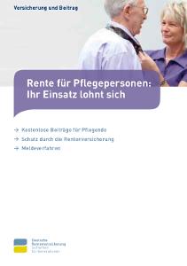 """Broschüre """"Rente für Pflegepersonen"""""""